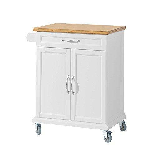 SoBuy Luxus-Carrito de Cocina con Piso de Acero, Estantería de Cocina, Carrito de Servir de Bambú L66xP46xA91cm, FKW13-WN,ES