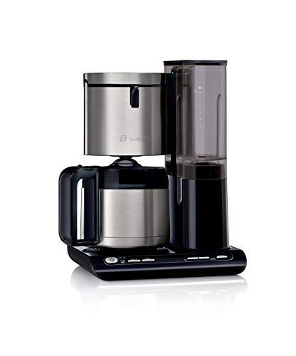 Bosch TKA8A683 Styline Filterkaffeemaschine, Thermokanne, autom. Anpassung Brühzeit, abnehmbarer Wassertank (1 L), 1100 W, schwarz