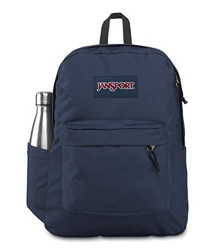 JanSport SuperBreak Mochila – Mochila escolar de viaje o trabajo con bolsillo para botella de agua, azul marino
