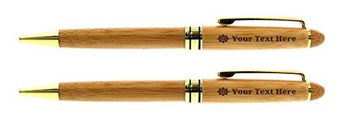 Customized Pens Engineer Cogwheel Symbol Engineering Pen Set Engineering Graduation Gifts for Engineering Graduate Mechanical Engineer Gifts 2-pack Personalized Laser Engraved Custom Wooden Bamboo Pen