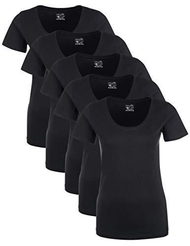 Berydale für für Sport & Freizeit, Rundhalsausschnitt T-Shirt, Schwarz), Medium (Herstellergröße: M), 5er-Pack