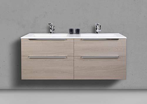 Intarbad ~ Badmöbel Set 140 cm Doppelwaschtisch mit 4 Auszügen und Spiegelschrank Led Schwarz Hochglanz Lack IB1747