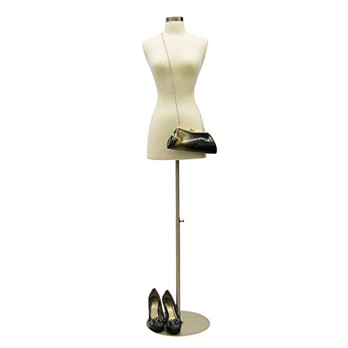 Female Mannequin Dress Form Torso with Round Metal Base and Neck Cap - Off White...