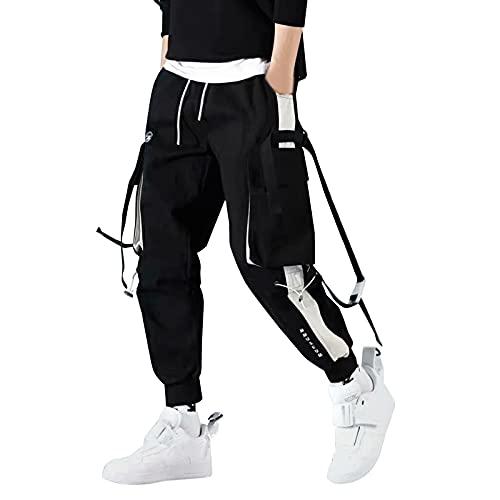 MOVERV Pantalones de Trabajo para Hombre Pantalones Cargo Talla Grande Casual Fitness Suelto Joggers Pantalones Jogger Cargo clásico Casuales Deportivos Pantalón Negro S-5XL