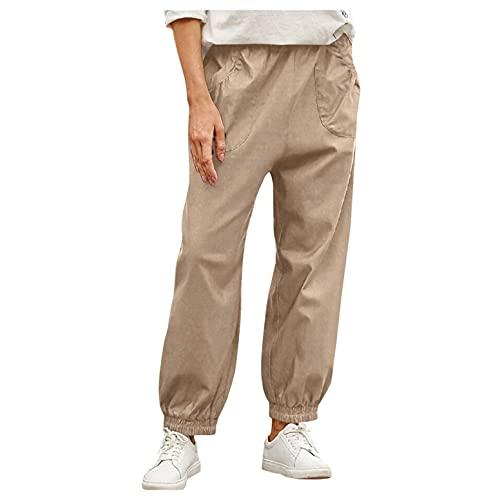Esque Pantalones De Trabajo con Cintura EláStica/Casuales Bolsillos Parche Mujer/Slim Fit/Oficina/CóModos/Pantalones Bolsillo EláStica/Caqui/S