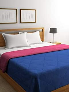 Bombay Dyeing Snooze Reversible Single Bed Comforter/ Quilt, 152cm x 229cm, Available in 6 Shades( Blue/Pink, Grey/Yellow, Orange/Peach, Brown/White, Green/Light Green, Aqua/Blue)