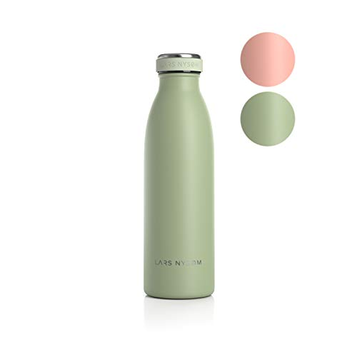 LARS NYSØM Edelstahl 0.5 Liter Trinkflasche | BPA-freie Isolierflasche 500ml | Auslaufsichere Wasserflasche für Sport, Fahrrad, Hund, Baby, Kinder (Sage)