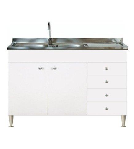 Mobile cucina 2 ante con cassettiera dx completo di lavello inox 120 sottolavello