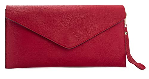 Big Handbag Shop pochette in eco pelle con tracolla lunga, Rosso