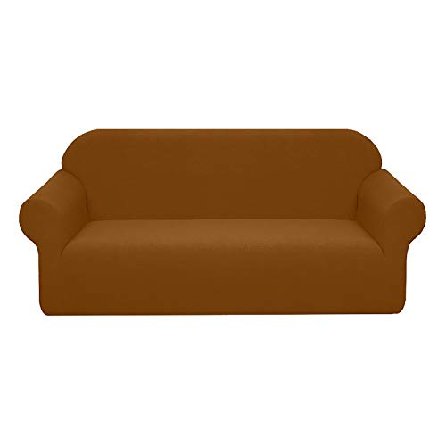 BHAHFL Funda de sofá elástica Impermeable Funda de sofá de Tela elástica de 1 Pieza - Funda de sofá Ajustada con patrón Flocado Funda de sofá Antideslizante con combinación,Light Coffee,3Seater