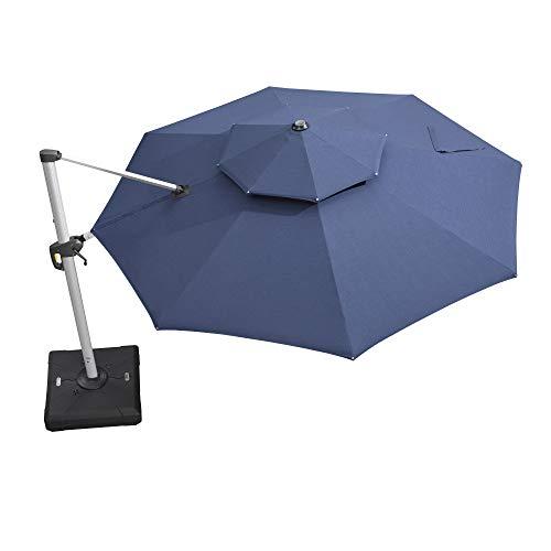 PURPLE LEAF 11 Feet Double Top Deluxe Sunbrella Round Patio Umbrella Offset Hanging Umbrella Cantilever Umbrella Outdoor Market Umbrella Garden Umbrella, Spectrum Indigo