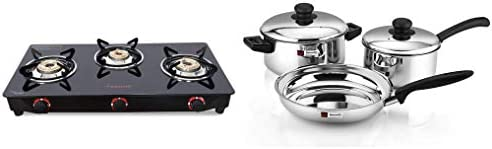 Butterfly Smart Glass Burner Gas Stove, Black