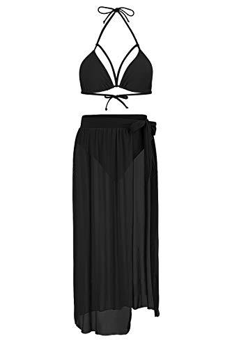 Kisscynest Women's 3 Piece High Waisted Halter Bikini Swimsuit Cover Ups Set Black XL