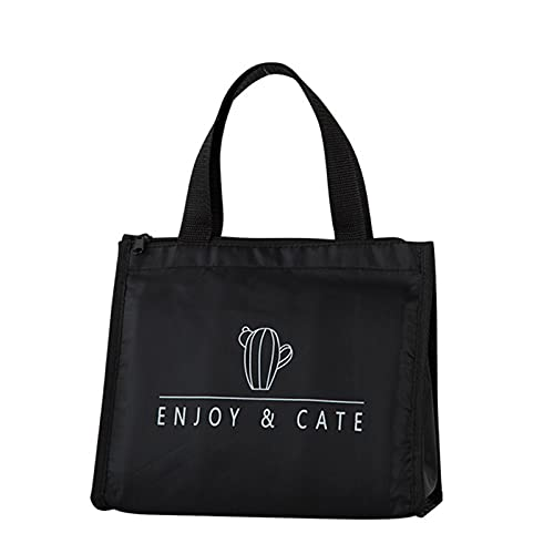 Portable Lunch Bag for Women Men - Black Thick Canvas Oxford Cloth Lunch Portable Insulation Bag Large Capacity Storage Bag - Reusable Waterproof Tote Bag Lunch Containers