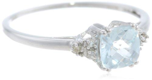 Hot Sale 10k Yellow Gold, March Birthstone, Aquamarine and Diamond Ring, Size 7