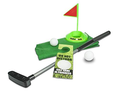 Monsterzeug WC Golfset, Golf Set für Toilette, Toiletten Golf, Lustiges Spiel fürs Klo, Spaßgeschenk - 98 x 71 cm (Kunstrasen)