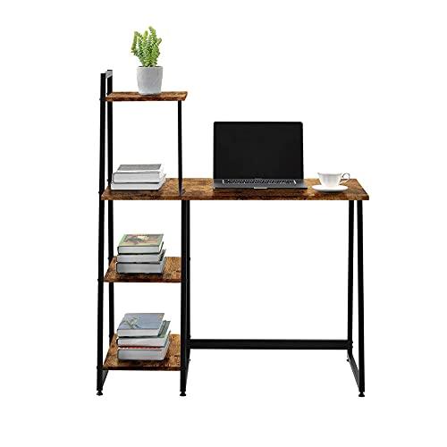 Escritorios, escritorios de computadoras, escritorios portátiles, escritorios, estaciones de trabajo de oficina en el hogar con bastidores de almacenamiento, escritorios de madera maciza modernos
