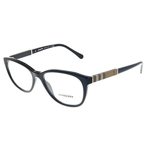 Burberry BE 2172 3001 Black Plastic Round Eyeglasses 52mm