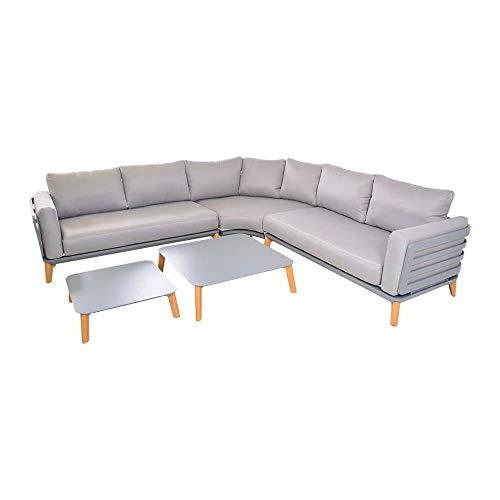 Sofá de esquina gris de aluminio con mesa – salón de jardín Phora