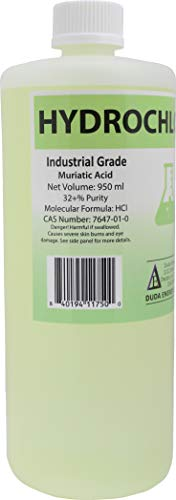 1 Quart / 950ml Bottle of Concentrated Hydrochloric/Muriatic Acid Concrete Cleaner