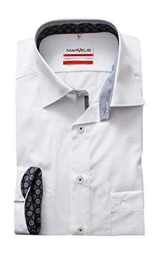 Marvelis Hemd Modern Fit | Extra lang 69er Arm | Bügelfrei, Knitterfrei | 100% Baumwolle | Weiss/New Kent Kragen Gr. 43