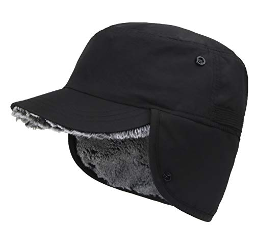 Connectyle Outdoor Mens Warm Hunting Hat with Earflaps Winter Skull Cap Faux Fur Baseball Cap Black