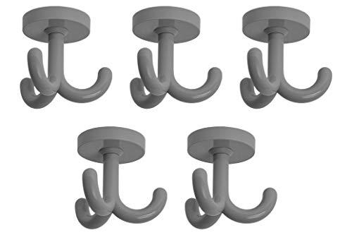 Gedotec Kleiderhaken Kunststoff Dreifachhaken Unterbau Drehhaken 3-fach - KITA | RAL 7000 - grau | Aufhänger für Decken-Montage | Garderoben-Haken schwenkbar | 5 Stück - Möbel-Haken zum Schrauben