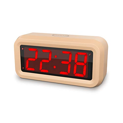 Digital Alarm Clock Battery Powered Small Travel/Desk/Wall Clock Battery Operated,4 pcs AA Batteries Keep Cordless Clock Running More Than 1 Year