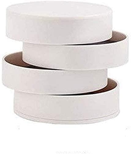 ZJDM Caja de Almacenamiento de Maquillaje Caja de Almacenamiento de joyería giratoria Simple de 4 Capas Contenedor Organizador de Maquillaje de Accesorios (Blanco)