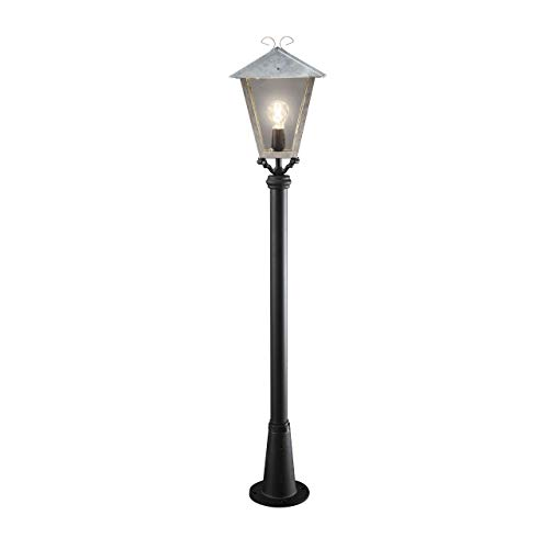 Konstsmide Benu 436-320 wegverlichting/B: 26 cm D: 26 cm H: 128 cm / 1x100 W / IP23 / kop verzinkt/gegalvaniseerd/paal lak. aluminium.