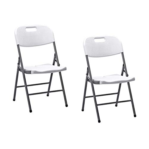 KitGarden - Pack de 2 Sillas Plegables Multifuncional, Blanco, Folding