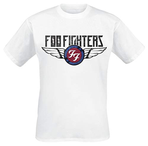 Foo Fighters Flash Wings Hombre Camiseta Blanco M, 100% algodón, [Effekte/Besonderheiten] + Regular