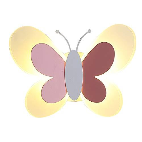 LED Schmetterling Form Kind Zimmer Wandleuchte 3200K Warmweiß Kinderwandlampe Augenschutz Acryl Kinderzimmer Wandlampe Modern Schön Junge und Mädchen Innen Beleuchtung für Wohnzimmer Schlafzimmer
