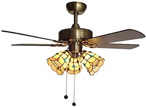 KEYREN Lámpara de Ventilador de Techo mediterráneo Inicio Tiffany Lámpara de araña con Ventilador Sala de Estar Dormitorio Estilo Pastoral Moda Lámpara de Techo con Interruptor de Pull, B (Color : I)