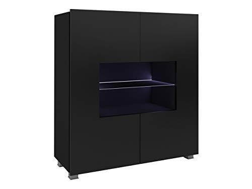 Mirjan24 Kommode Calabrini BR01 mit 2 Türen, Sideboard, Anrichte, 100x107x35 cm, Highboard, Mehrzweckschrank, Wohnzimmer (Schwarz/Schwarz Hochglanz, mit Blauer LED Beleuchtung)