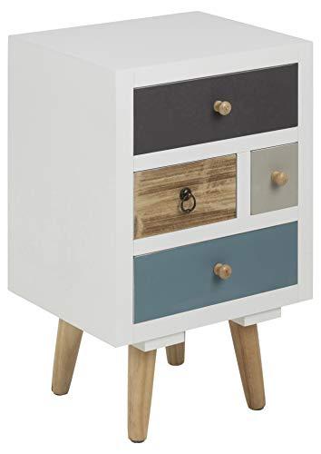 AC Design Furniture Mesita de Noche Cajones Multicolores Suwen, Patas de Pino, Pintura Transparente, 4 Piezas, Blanco, 36 x 30 x 59 cm