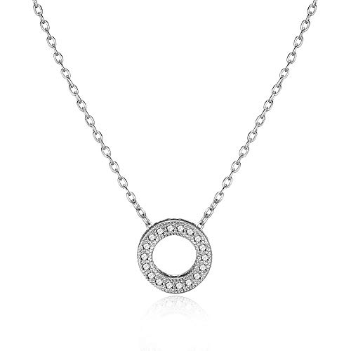 Philip Jones Silver Circle of Life Necklace Created with Austrian Crystals
