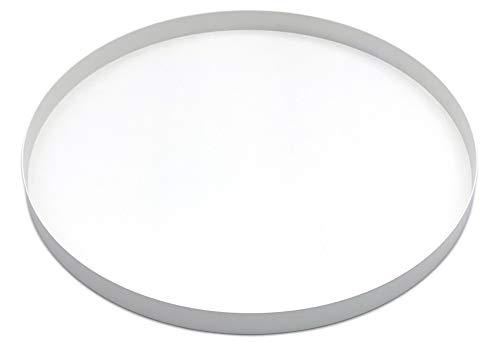 D&D Living Dekotablett Rund Ø 30 cm   Design Dekoteller für Ostern, Frühling und mehr aus Metall (Weiß matt)