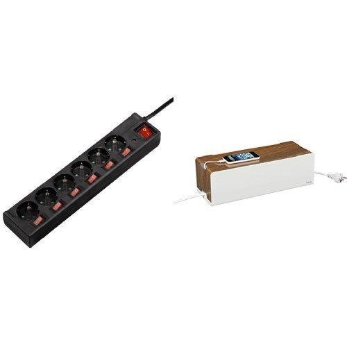 Hama Steckdosenleiste (6-fach, 1,4m, einzeln schaltbar, beleuchtete Schalter, Überspannungsschutz) schwarz + Hama Kabelbox Woodstyle Maxi (Holzoptik, 40 x 16 x 13 cm (B x T x H), Kabelclips und Gummifüßen) weiß/braun