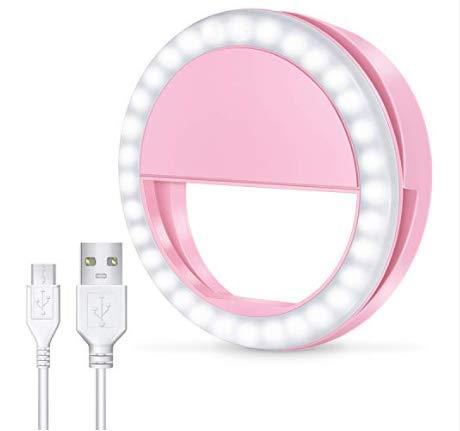 Anillo de Luz Selfie Embellece el Rostro, Anillo de Luz para Fotos y vídeos 3 Niveles de iluminación. Selfie Light, USB Recargable. (Rosa)