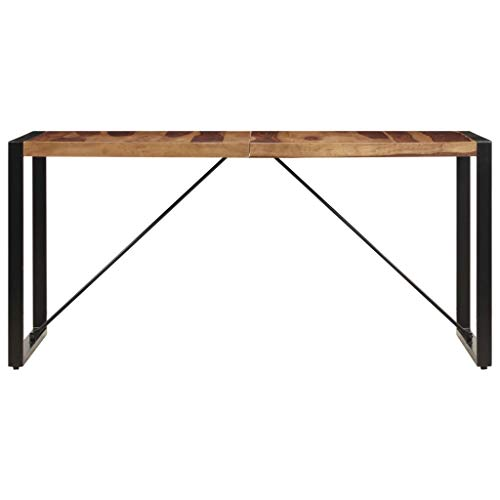 Tidyard Esstisch 140 x 70 x 75 cm Massivholz Sheesham Wood Dining Table Industrial Style Solid Wood Sheesham Table for Dining Room Living Room Kitchen Balcony