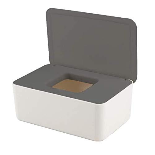 Limpie la caja de almacenaje a prueba de polvo de tejido caja de almacenamiento con tapa Toallitas titular hoja de tejido seco húmedo para la seguridad del coche del blanco gris de vacaciones de Gft