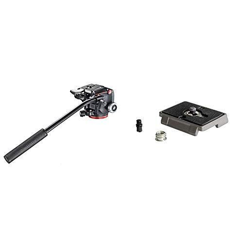 Manfrotto MHXPRO-2W, XPRO Fluid Head with Fluidity Selector, Black & 200PL, Quick Release Plate with 1/4 Inch Screw, Compatible with DSLR, Compact System Camera, Mirrorless, Multi-Colour