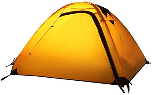 LAZ Camping Tent,2-3 People Tents Double Layer Aluminium Rod Rain-Proof Festival Tents Camping Climbing Dome Tent Sun Shelter (Color : Yellow, Size : 210 cm)