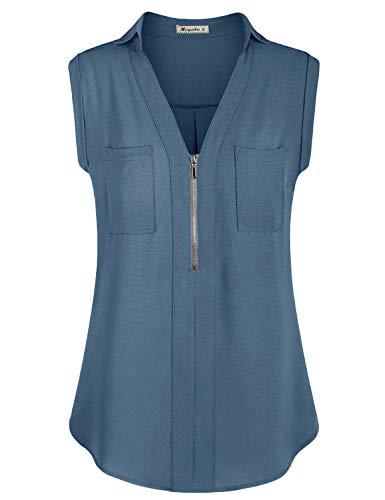 Moyabo Women Tops and Blouses Chiffon Tank Tops Flowy Sexy V Neck Sleeveless Tunics Blouses with Pockets Blue Grey X-Large