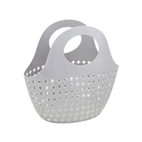 huashangbaihuodian Tragbarer Aufbewahrungskorb aus Kunststoff, mit dem die Einkäufe erledigt Werden. Wäschepflege-Aufbewahrungsbehälter für Obst und Gemüse Küchenbehälter # Z, grau