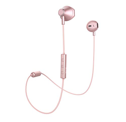 Bluetooth Headphones, Yostyle Magnetic Wireless Earbuds Bluetooth 5.0 Noise Canceling Earphones Sweatproof Sport Headset w/Mic for iPhone 11 Pro/X/XR/XS Max/8/7/6 Plus,10 Hrs Work Time(Rose Gold)