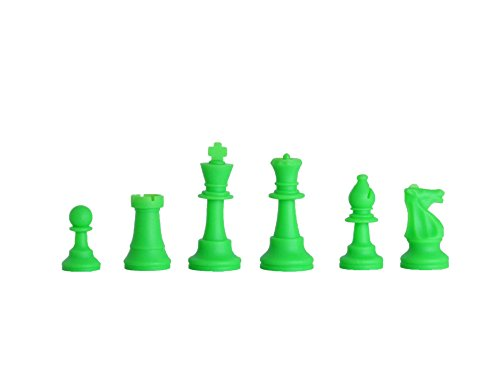 The House of Staunton, Inc. Regulation Silicone (Rubber) Tournament Chess Set - Pieces Only - 3.75' King - by US Chess Federation (Neon Green)