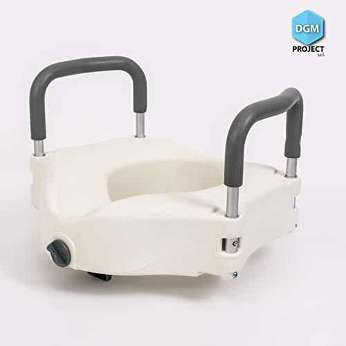 DGM Project s.r.l. Hausse pour WC, alzawater Anatomique avec système de Fixation et accoudoirs en Aluminium avec Caoutchouc Anatomique, portée 110 kg