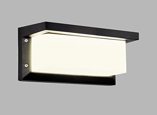 HAOFU Apliques de Pared Lámpara Moderna 12W, LED, 1200Lúmenes,Aplique para exterior, 4000K blanco Neutra,impermeable IP65,Aluminio+Acrílico